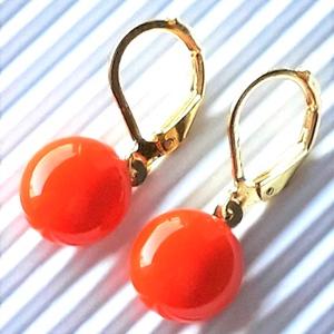 Narancssárga kerek üveg fülbevaló arany színű franciakapcsos akasztón, üvegékszer, minimal ékszer, Ékszer, Fülbevaló, Lógós kerek fülbevaló, Ékszerkészítés, Üvegművészet, Meska