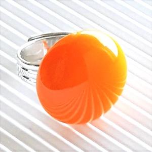 Okker sárga kerek üveg gyűrű, üvegékszer, Ékszer, Gyűrű, Statement gyűrű, Ékszerkészítés, Üvegművészet, Meska
