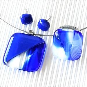 Nyári zápor kocka üveg medál,  elegáns gyűrű és bedugós fülbevaló, NEMESACÉL/ORVOSI FÉM, üvegékszer szett - Meska.hu