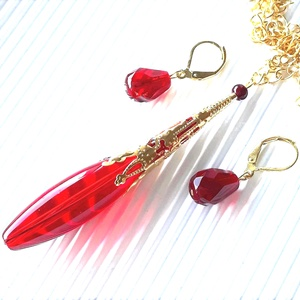 Arany csipkés rubin gyöngy-csepp üveg-gyöngy medál és franciakapcsos gyöngyfülbevaló, üveggyöngy ékszer, Ékszer, Ékszerszett, Ékszerkészítés, Gyöngyfűzés, gyöngyhímzés, Meska