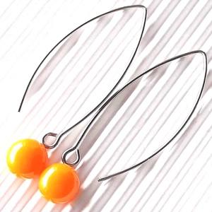 Okkersárga pötty üveg fülbevaló hosszú, design, orvosi fém akasztón, üvegékszer - Meska.hu