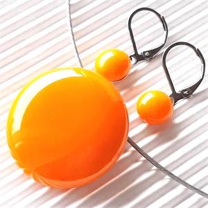 Okker sárga kerek üveg medál és pötty fülbevaló orvosi fém franciakapcsos akasztón, üvegékszer szett, Ékszer, Ékszerszett, Ékszerkészítés, Üvegművészet, Meska