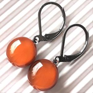 Karamell üveg pötty franciakapcsos fülbevaló ORVOSI FÉM akasztón, üvegékszer, Ékszer, Fülbevaló, Lógós kerek fülbevaló, Ékszerkészítés, Üvegművészet, Meska