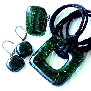 Szikrázó mohaszőnyeg sötétzöld maxi fémmentes üveg medál, üvegékszer - ékszer - nyaklánc - medálos nyaklánc - Meska.hu