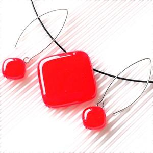 Cseresznye piros üveg rombusz medál és fülbevaló design NEMESACÉL/ORVOSI FÉM akasztón, üvegékszer szett - Meska.hu