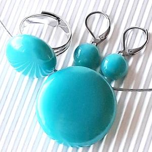 Akvamarin kerek nyaklánc, gyűrű, és fülbevaló franciakapcsos NEMESACÉL/ORVOSI FÉM, üvegékszer szett, Ékszer, Ékszerszett, Ékszerkészítés, Üvegművészet, Meska
