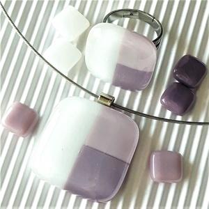 NEMESACÉL: Tulipánbimbó pasztell lilában üveg medál, gyűrű és franciakapcsos fülbevaló, üvegékszer szett - Meska.hu