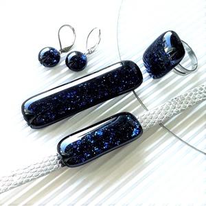 NEMESACÉL alapokon: Csillagfényes elegancia üveg medál, gyűrű, karkötő és fülbevaló, üvegékszer szett, Ékszer, Ékszerszett, Ékszerkészítés, Üvegművészet, Meska