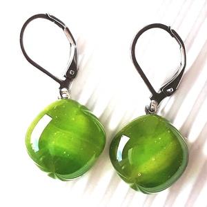 Lorien erdeje üveg franciakapcsos fülbevaló orvosi fém akasztón, üvegékszer, Ékszer, Fülbevaló, Lógó fülbevaló, Ékszerkészítés, Üvegművészet, Meska