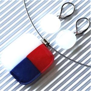 NEMESACÉL: Tengerész fehér-piros-kék mozaik üveg medál és franciakapcsos fülbevaló, üvegékszer szett , Ékszer, Ékszerszett, Ékszerkészítés, Üvegművészet, Meska