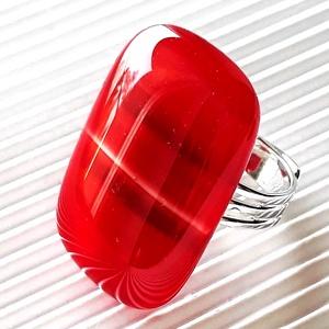 Lángoló szenvedély meggypiros üveg elegáns gyűrű, üvegékszer - Meska.hu