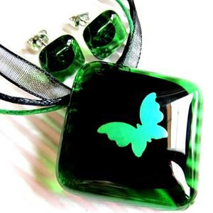 Smaragd pillangó üveg medál és fülbevaló NEMESACÉL alapon, üvegékszer szett, Ékszer, Ékszerszett, Ékszerkészítés, Üvegművészet, Meska