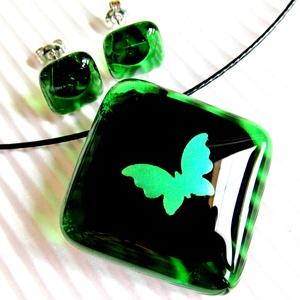 Smaragd pillangó üveg medál és fülbevaló NEMESACÉL alapon, üvegékszer szett - Meska.hu
