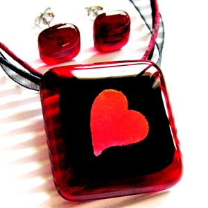 Szerelmes üzenet üveg medál és fülbevaló NEMESACÉL alapokon, üvegékszer szett, Ékszer, Ékszerszett, Ékszerkészítés, Üvegművészet, Meska