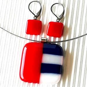 NEMESACÉL: Tengerész piros-fehér-kék mozaik üveg medál és franciakapcsos fülbevaló, üvegékszer szett , Ékszer, Ékszerszett, Ékszerkészítés, Üvegművészet, Meska