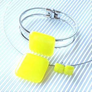 Citromsárga üveg medál, karkötő fém pánton és fülbevaló orvosi fém bedugón, minimal, üvegékszer szett - Meska.hu
