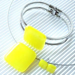 Citromsárga üveg medál, karkötő fém pánton és fülbevaló NEMESACÉL/ORVOSI FÉM, minimal, üvegékszer szett, Ékszer, Ékszerszett, Ékszerkészítés, Üvegművészet, Meska