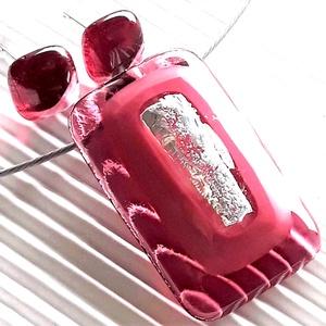 Ezüstös málna pinkben üveg medál és fülbevaló orvosi fém bedugón, üvegékszer szett, Ékszer, Ékszerszett, Ékszerkészítés, Üvegművészet, Meska
