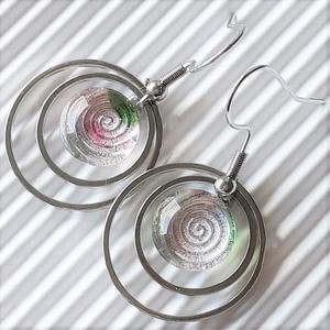 Vadrózsabokor - harmatcsepp pötty üveg fülbevaló NEMESACÉL akasztón, üvegékszer, Ékszer, Fülbevaló, Lógós kerek fülbevaló, Ékszerkészítés, Üvegművészet, Meska