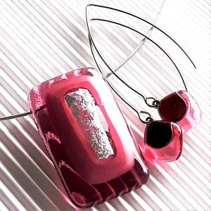 Ezüstös málna pinkben üveg medál és fülbevaló orvosi fém design akasztón, üvegékszer szett, Ékszer, Ékszerszett, Ékszerkészítés, Üvegművészet, Meska