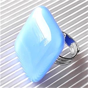 Levendula kék maxi üveg gyűrű, üvegékszer - Meska.hu