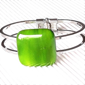 Lorien erdeje kocka üveg karkötő platina bevonatú rugós fém pánton, üvegékszer szett - Meska.hu
