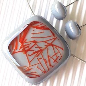 Galambszürke csillaghullás üveg medál és fülbevaló NEMESACÉL/ORVOSI FÉM üvegékszer szett, Ékszer, Ékszerszett, Ékszerkészítés, Üvegművészet, Meska