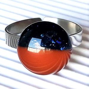 Csillagfény - karamell duó pötty gyűrű nemesacél alapon , üvegékszer - Meska.hu