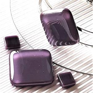 Orgonalila nyaklánc, fém pántos karkötő és fülbevaló NEMESACÉL/ORVOSI FÉM, üvegékszer szett, Ékszer, Ékszerszett, Ékszerkészítés, Üvegművészet, Meska