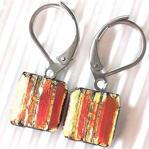 Arany- piros szárnyú szentjánosbogárka dichroic üveg fülbevaló orvosi fém, francia kapcsos alapon , üvegékszer - Meska.hu
