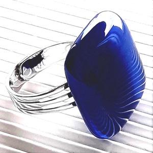 Tengerészkék üveg kocka gyűrű, üvegékszer, Ékszer, Gyűrű, Statement gyűrű, Ékszerkészítés, Üvegművészet, Meska
