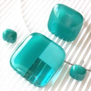 Tengerkékek - tengerzöldek mozaik üveg medál, gyűrű és fülbevaló orvosi fém bedugón, üvegékszer szett, Ékszer, Ékszerszett, Ékszerkészítés, Üvegművészet, Meska
