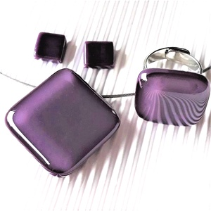 Orgonalila kocka üveg medál, gyűrű és fülbevaló orvosi fém bedugón, üvegékszer szett - ékszer - ékszerszett - Meska.hu