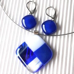 Nyári zápor rombusz üveg medál és franciakapcsos maxi fülbevaló, NEMESACÉL ALAPOKON, üvegékszer szett - ékszer - ékszerszett - Meska.hu