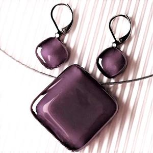 Orgonalila üveg rombusz medál és franciakapcsos fülbevaló, NEMESACÉL, üvegékszer szett - ékszer - ékszerszett - Meska.hu