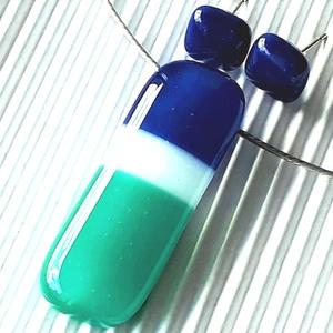 NEMESACÉL: Tengeri szellő üveg medál és bedugós fülbevaló, üvegékszer szett , Ékszer, Ékszerszett, Ékszerkészítés, Üvegművészet, Meska