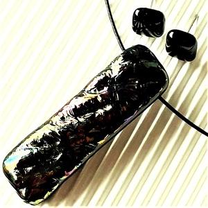 Sárkányszem elegáns üveg medál és fülbevaló orvosi fém bedugón, minimal design, üvegékszer szett - Meska.hu