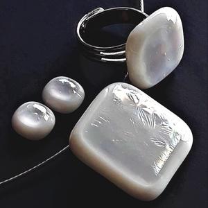 Szivárvány mennyegző minimal üveg medál és fülbevaló, NEMESACÉL, esküvői ékszer, üvegékszer szett - Meska.hu