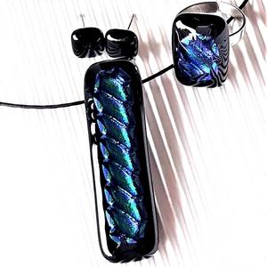 Zafír ragyogás üveg medál, gyűrű és bedugós fülbevaló, NEMESACÉL, üvegékszer szett - Meska.hu