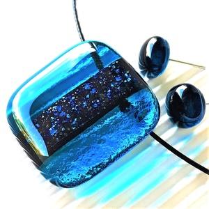 Teal szikrázás üveg medál és fülbevaló, NEMESACÉL, üvegékszerszett, Ékszer, Ékszerszett, Ékszerkészítés, Üvegművészet, Meska
