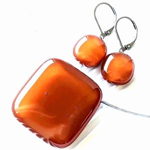Karamell üveg kocka medál és franciakapcsos fülbevaló, NEMESACÉL/ORVOSI FÉM, üvegékszer szett - Meska.hu