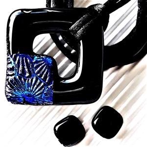 Kék éjfél tavirózsával fekete maxi fémmentes üveg medál és fülbevaló orvosi fém bedugón, üvegékszer szett, Ékszer, Ékszerszett, Ékszerkészítés, Üvegművészet, AKCIÓ! - 3 BÁRMILYEN TERMÉK vásárlása esetén a harmadikból 50 % KEDVEZMÉNY, akár INGYEN POSTÁZÁS és ..., Meska