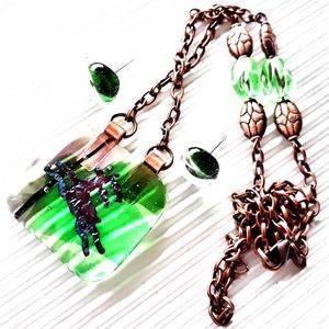 Tavaszi erdő üvegékszer nyaklánc, vörösréz színű láncon, ajándék fülbevalóval, üvegékszer szett, gyöngyékszer, Ékszer, Ékszerszett, Ékszerkészítés, Üvegművészet, Meska