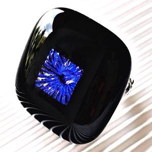 Kék éjfél tavirózsával fekete maxi gyűrű, üvegékszer, Ékszer, Gyűrű, Statement gyűrű, Ékszerkészítés, Üvegművészet, Meska