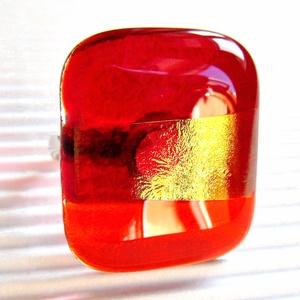 Aranyló tündérpor üveg gyűrű NEMESACÉL alapon, üvegékszer, Ékszer, Gyűrű, Statement gyűrű, Ékszerkészítés, Üvegművészet, Meska