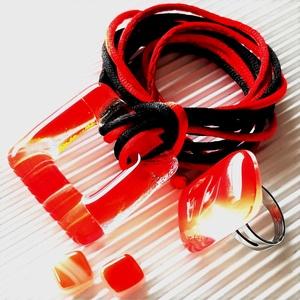 Főnix maxi fémmentes üveg medál, gyűrű és fülbevaló, NEMESACÉL,  üvegékszer szett, Ékszer, Ékszerszett, Ékszerkészítés, Üvegművészet, Meska