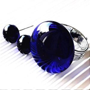 Sejtelmes királykék kerek üveg gyűrű és fülbevaló orvosi fém alapon, üvegékszer szett, Ékszer, Ékszerszett, Ékszerkészítés, Üvegművészet, Meska