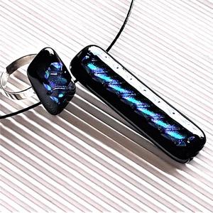 Zafír ragyogás üveg medál és gyűrű, NEMESACÉL, üvegékszer szett - ékszer - ékszerszett - Meska.hu