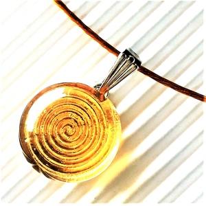 Aranysárga körforgás pötty üveg medál nemesacél akasztón, üvegékszer - Limitált széria!, Ékszer, Nyaklánc, Medálos nyaklánc, Ékszerkészítés, Üvegművészet, Meska