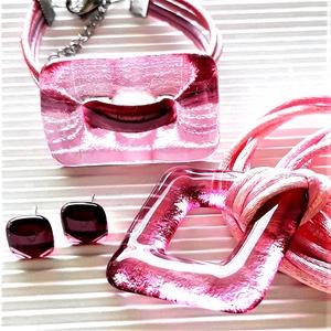 Rózsás hajnal maxi fémmentes üveg medál, karkötő és fülbevaló, üvegékszer szett, Ékszer, Ékszerszett, Ékszerkészítés, Üvegművészet, Meska